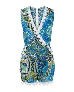 AX Paris Blue Aztec Print Crochet Trim Wrap Playsuit | New Look