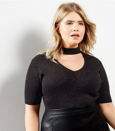 Curves Black Ribbed Choker Neck Top | New Look