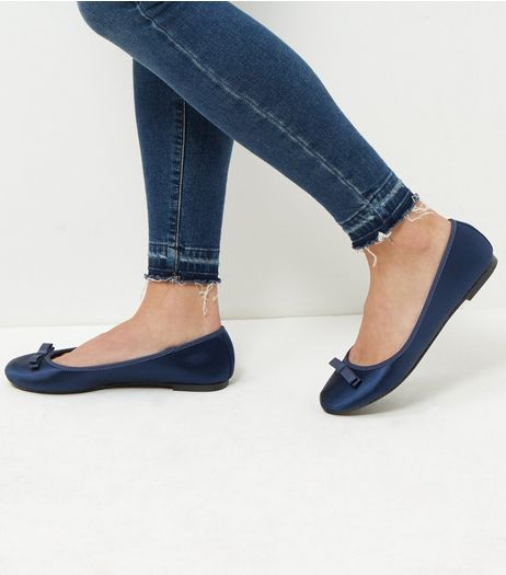 Wide Fit Navy Sateen Double Bow Ballet Pumps  | New Look