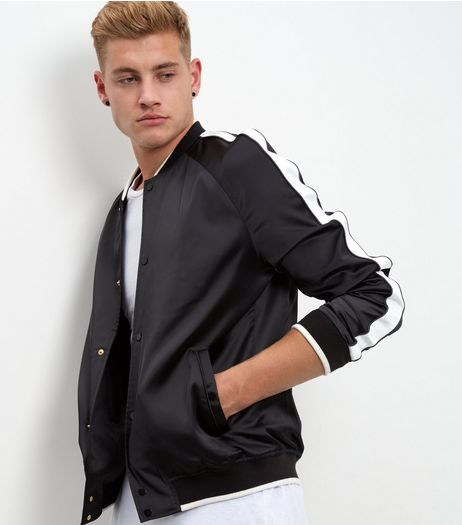 Black Stripe Sleeve Sateen Bomber Jacket | New Look