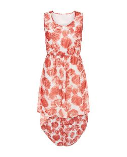 Mela White Rose Print Dip Hem Dress | New Look