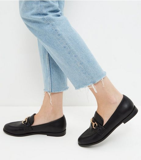 Black Leather-Look Metal Trim Loafers | New Look