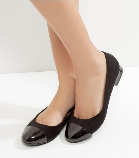 Wide Fit Black Suedette Contrast Panel Pumps | New Look