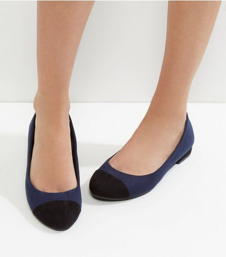 Wide Fit Navy Suedette Contrast Panel Pumps | New Look