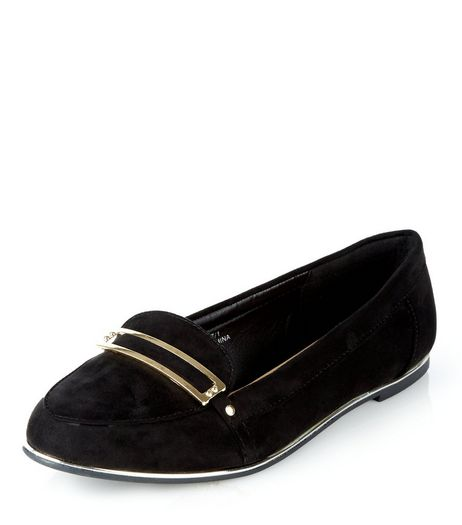 Teens Black Suedette Metal Trim School Loafers  | New Look