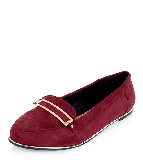 Teens Burgundy Suedette Metal Details Loafers | New Look