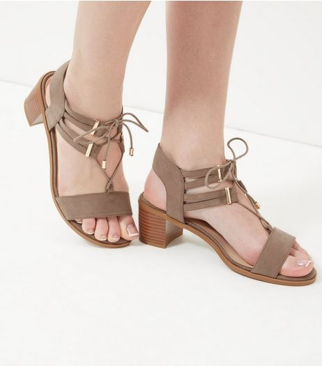 Wide Fit Light Brown Ghillie Block Heel Sandals  | New Look