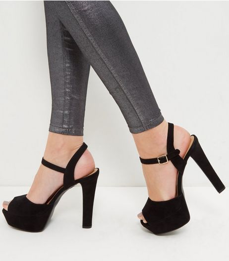 Black Wide Fit Suedette Ankle Strap Platform Heels  | New Look