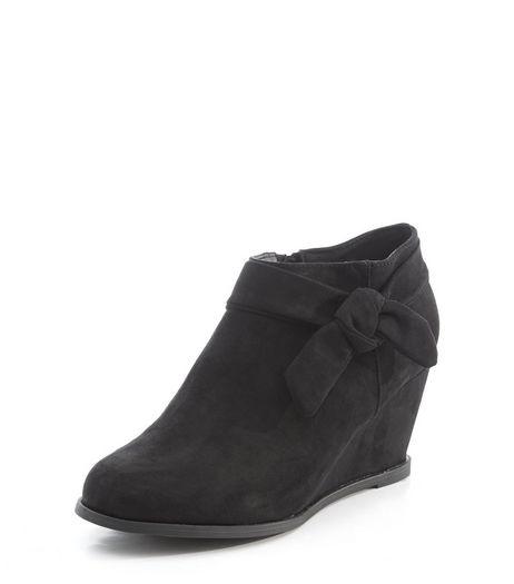 Teens Black Suedette Knot Side Wedge Ankle Boots  | New Look