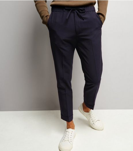 Navy Pinstripe Rolled Hem Joggers | New Look
