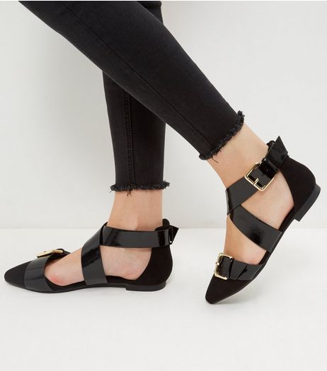 Wide Fit Black Patent Buckle Strap Sandals | New Look
