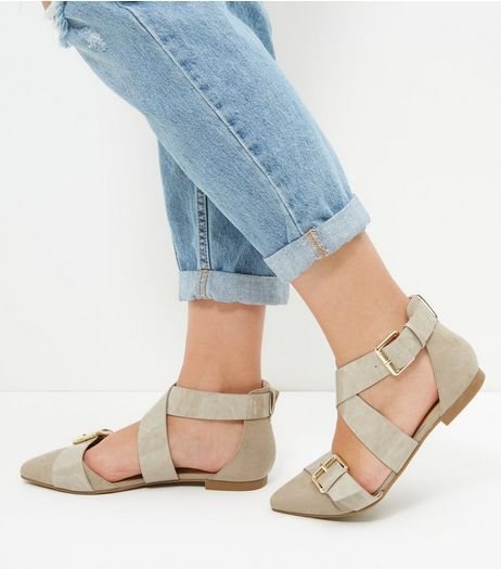 Wide Fit Light Brown Suedette Buckle Strap Sandals  | New Look