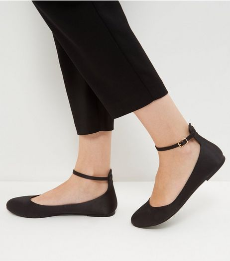 Black Satin Ankle Strap Pumps | New Look