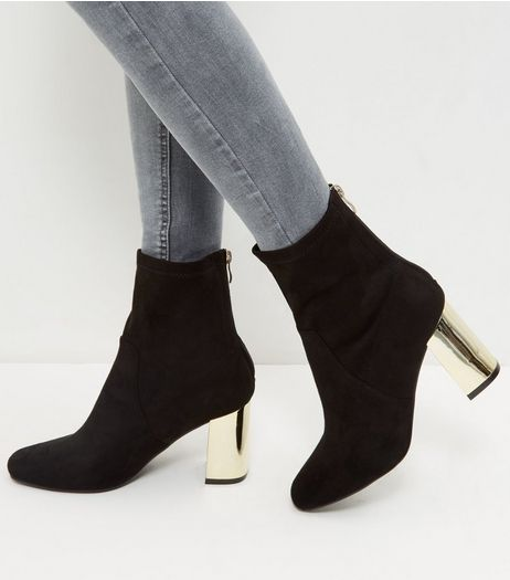 Wide Fit Black Suedette Metal Heel Ankle Boots  | New Look