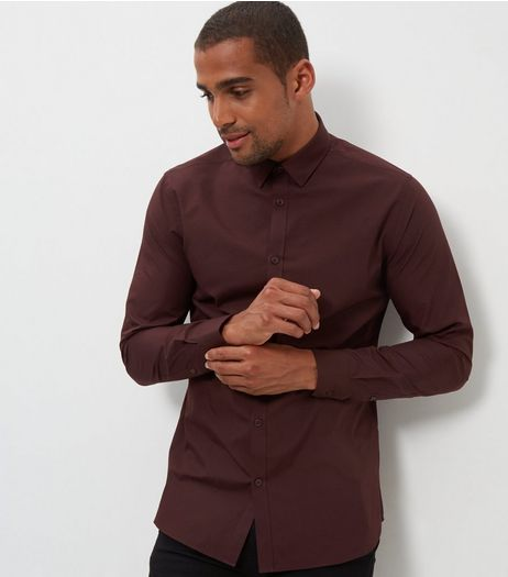 Burgundy Long Sleeve Shirt | New Look