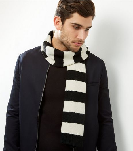 Monochrome Stripe Scarf | New Look