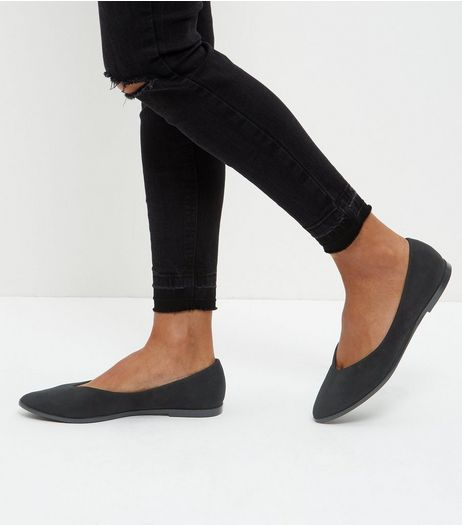 Black Suedette V Throat Pointed Pumps  | New Look