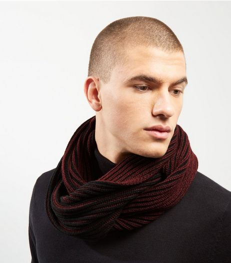 Dark Red Ribbed Snood | New Look