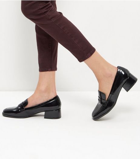 Black Patent Block Heel Loafers | New Look