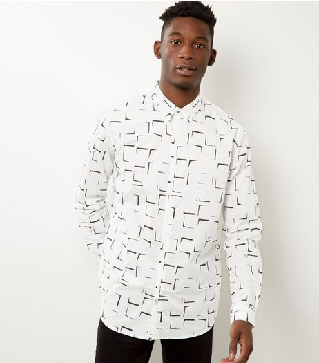 White Abstract Print Cotton Shirt | New Look