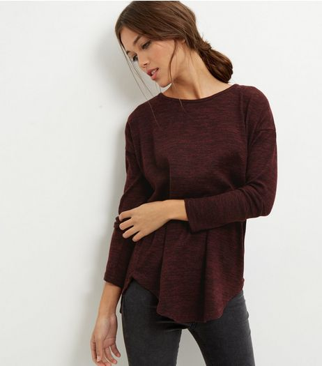 Burgundy Brushed Zip Back Jumper  | New Look
