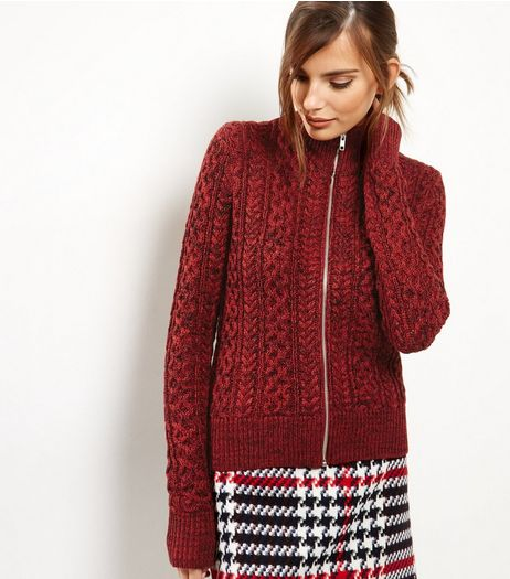 Red Cable Knit Zip Front Jacket  | New Look