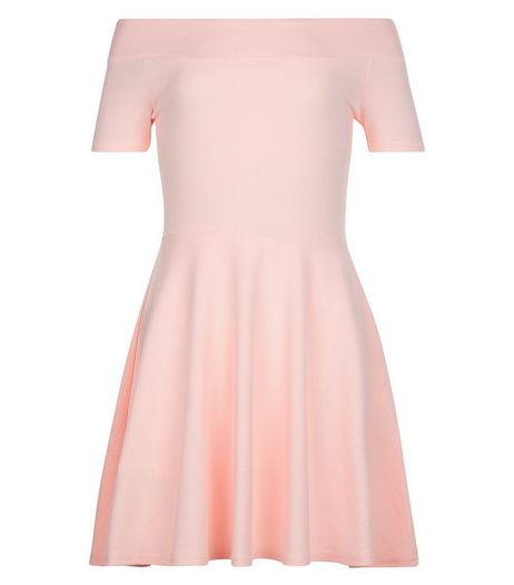 Girls Mid Pink Textured Bardot Neck Dress | New Look