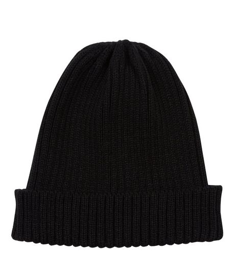 Black Ribbed Beanie | New Look
