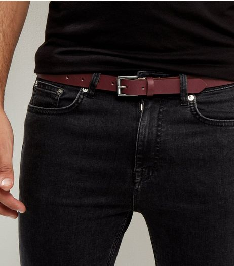 Dark Red Skinny Leather Belt | New Look