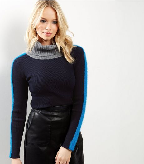 Blue Turtle Neck Faux Fur Sleeve Jumper  | New Look