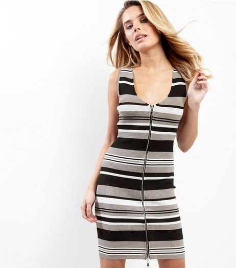Black Stripe Zip Front Bodycon Dress | New Look