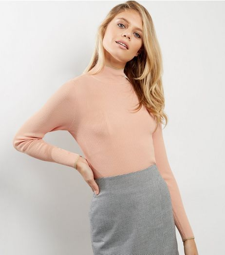Mid Pink Ribbed Metallic Trim Funnel Neck Jumper  | New Look