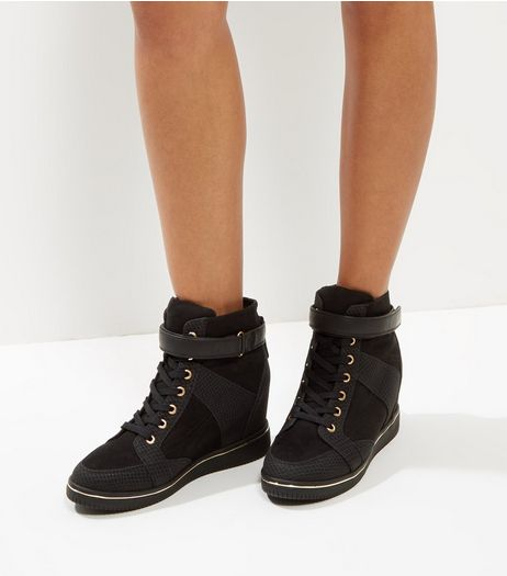 Black Gold Trim Wedge Trainer  | New Look