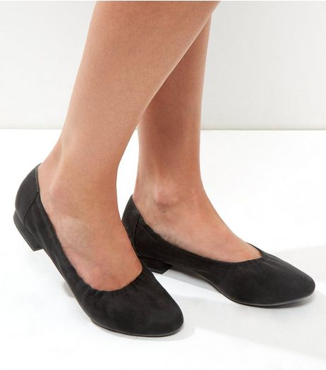 Black Suede Block Heel Elastciated Pumps | New Look