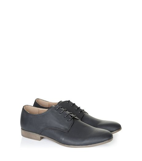 Black Leather Look Lace-Up Brogues | New Look