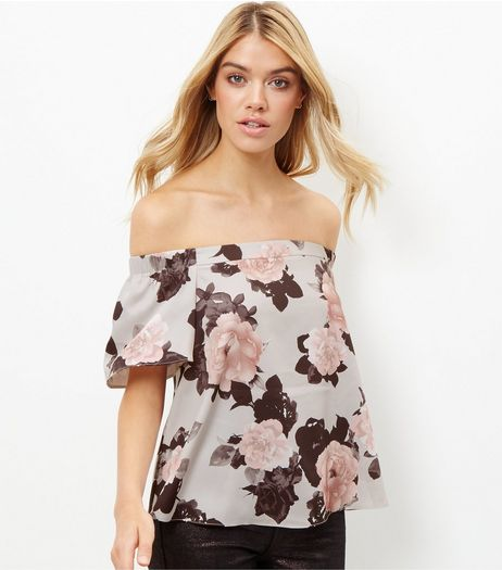 Blue Floral Print Bardot Neck Top | New Look