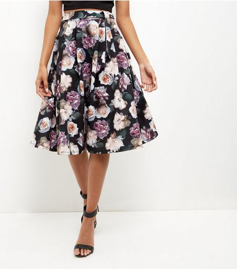 Black Floral Print Midi Skater Skirt  | New Look
