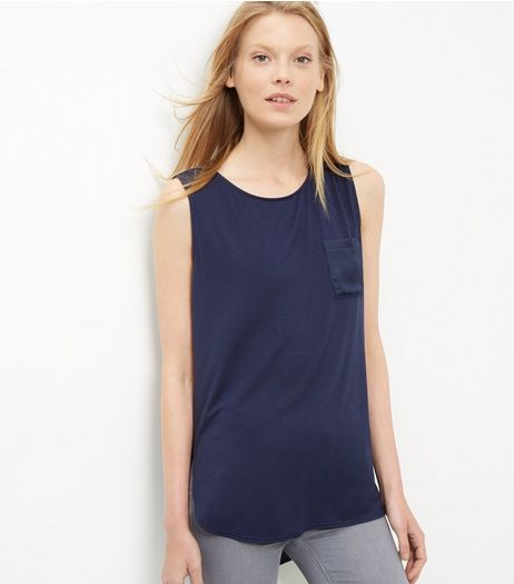 Navy Sateen Contrast Single Pocket Sleeveless Top  | New Look