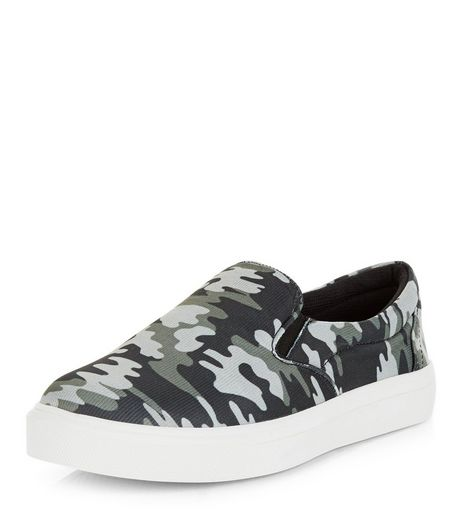 Green Camo Print Slip On Plimsolls  | New Look