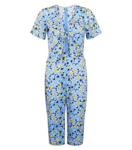 Influence Floral Print Tie Front Culotte Jumpsuit  | New Look