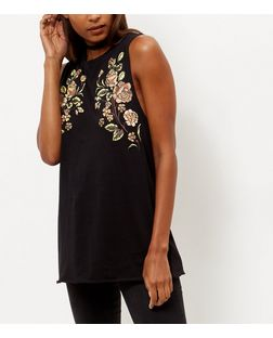 Black Rose Print Tank Top | New Look