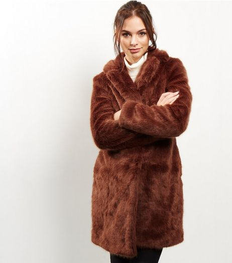 Brown Faux Fur Coat | New Look