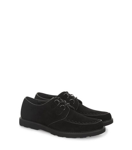 Black Suedette Lace Up Creepers | New Look