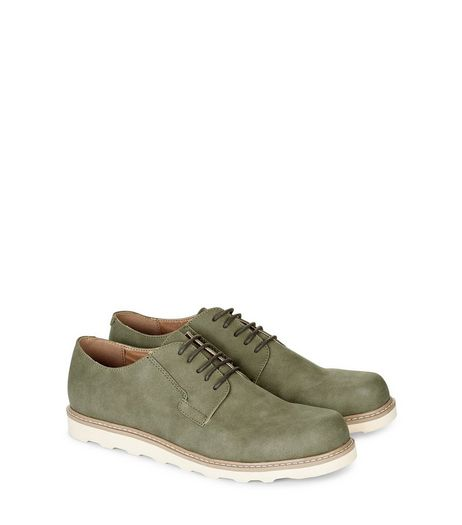 Olive Green Suedette Contrast Sole Derby Shoes  | New Look