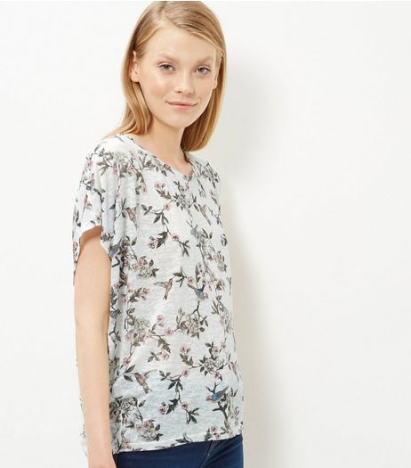 Cream Bird Floral Print Cocoon T-Shirt | New Look