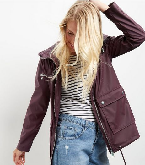 Burgundy Matte Hooded Parka  | New Look