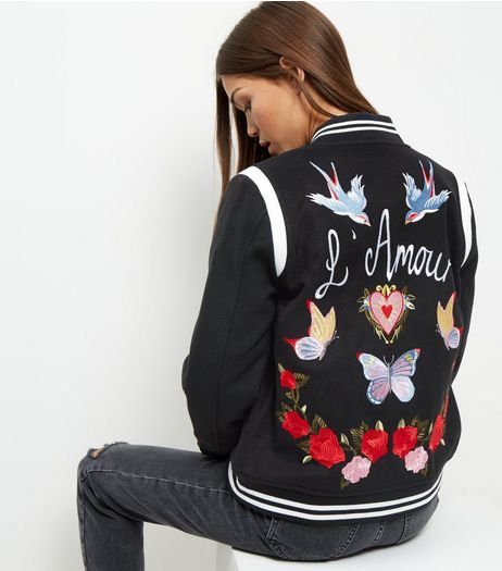 Black Lamour Embroiderd Bomber Jacket  | New Look