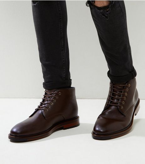 Dark Brown Lace Up Boots | New Look