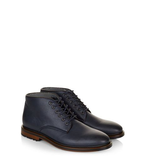 Navy Lace Up Boots | New Look