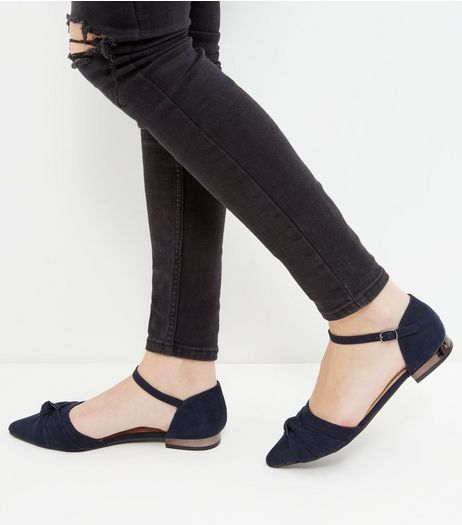 Navy Bow Front Ankle Strap Sandals | New Look